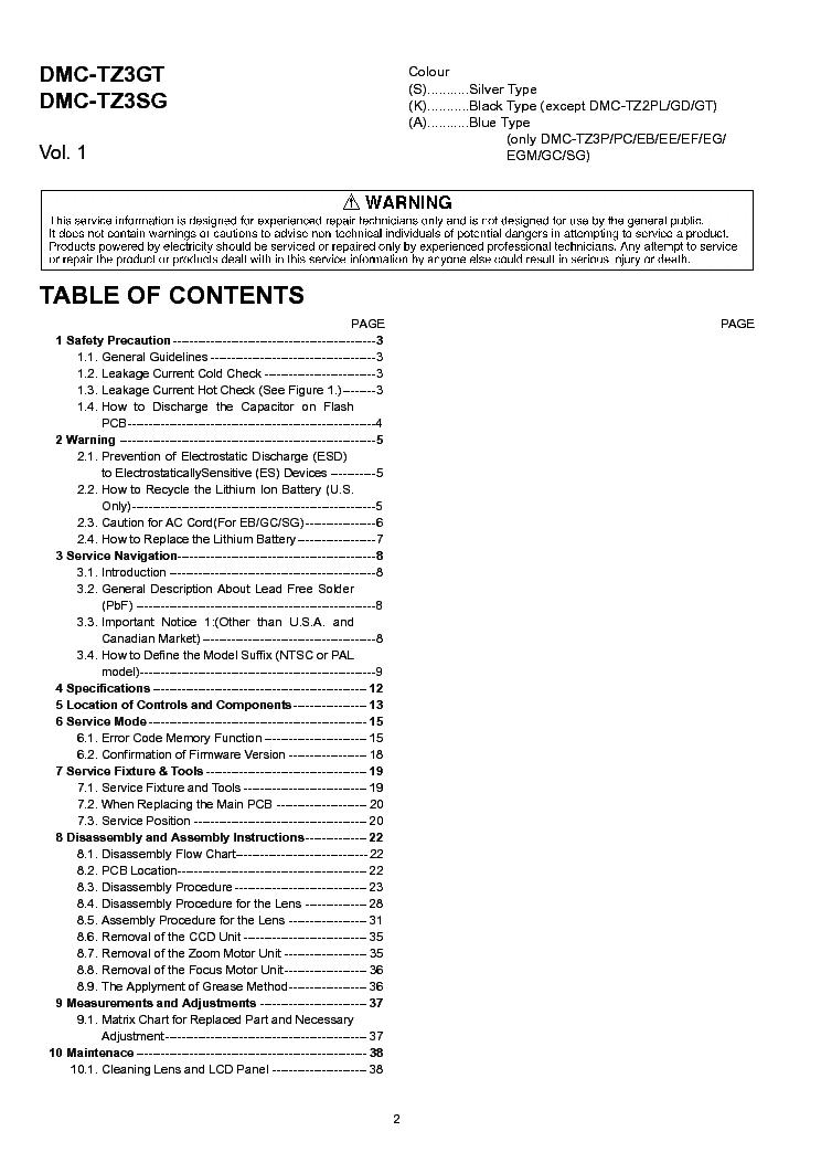PANASONIC LUMIX DMC-TZ2-XX TZ3-XX SM Service Manual download