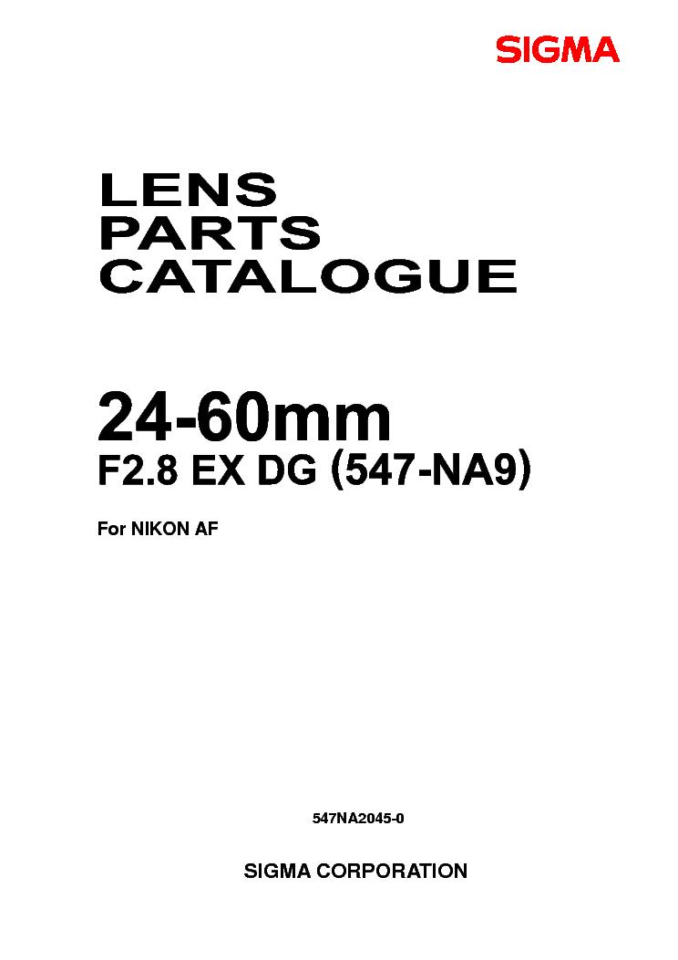 Miraculous Sigma 24 60 F2 8 Ex Dg For Nikon Lens Parts Service Manual Download Wiring Digital Resources Funapmognl