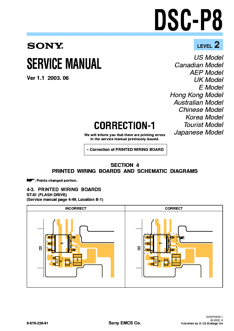 SONY DSC-P8 CORR LEVEL-2 VER-1.1 service manual (1st page)