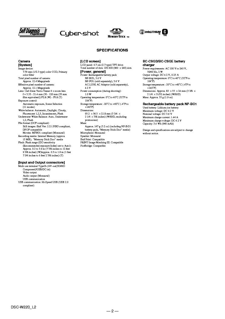 SONY DSC-W220 LEVEL2 VER1 2 SM Service Manual download, schematics