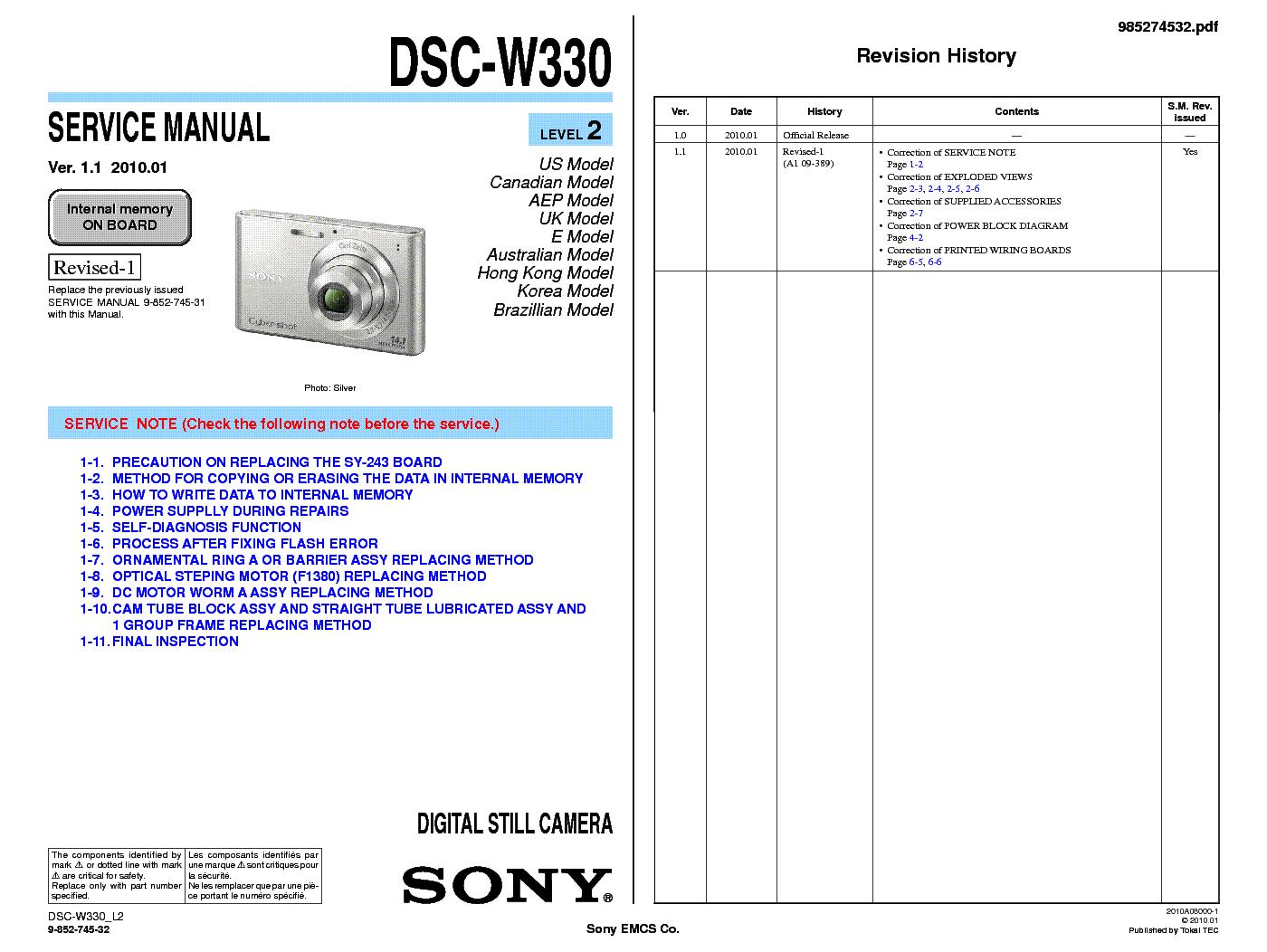 Sony cyber-shot dsc-w330 service & repair manual download downloa.