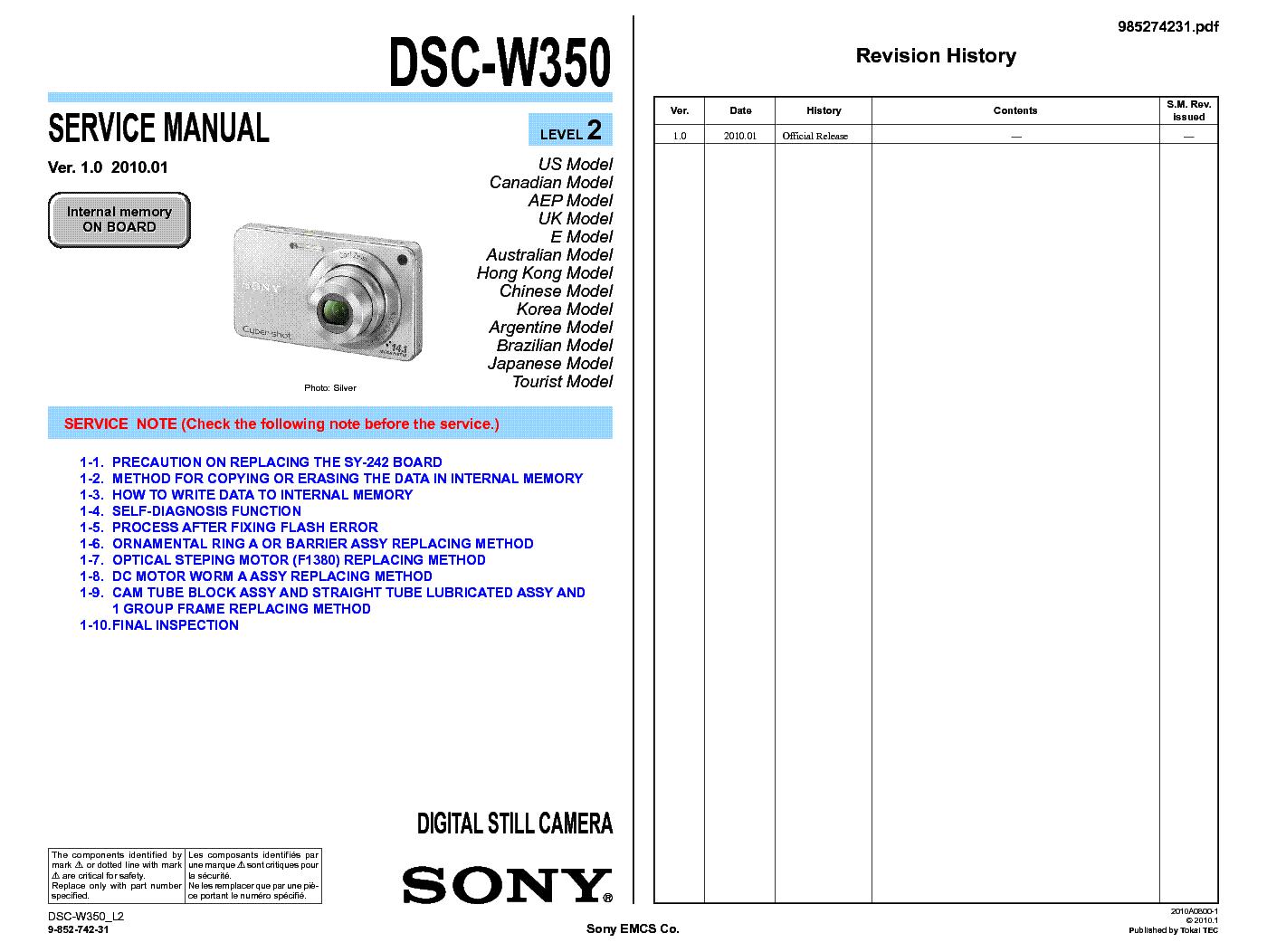 sony dsc w350 level 2 ver 1 0 sm service manual download schematics rh elektrotanya com sony w350 manual sony cyber shot dsc w350 manual