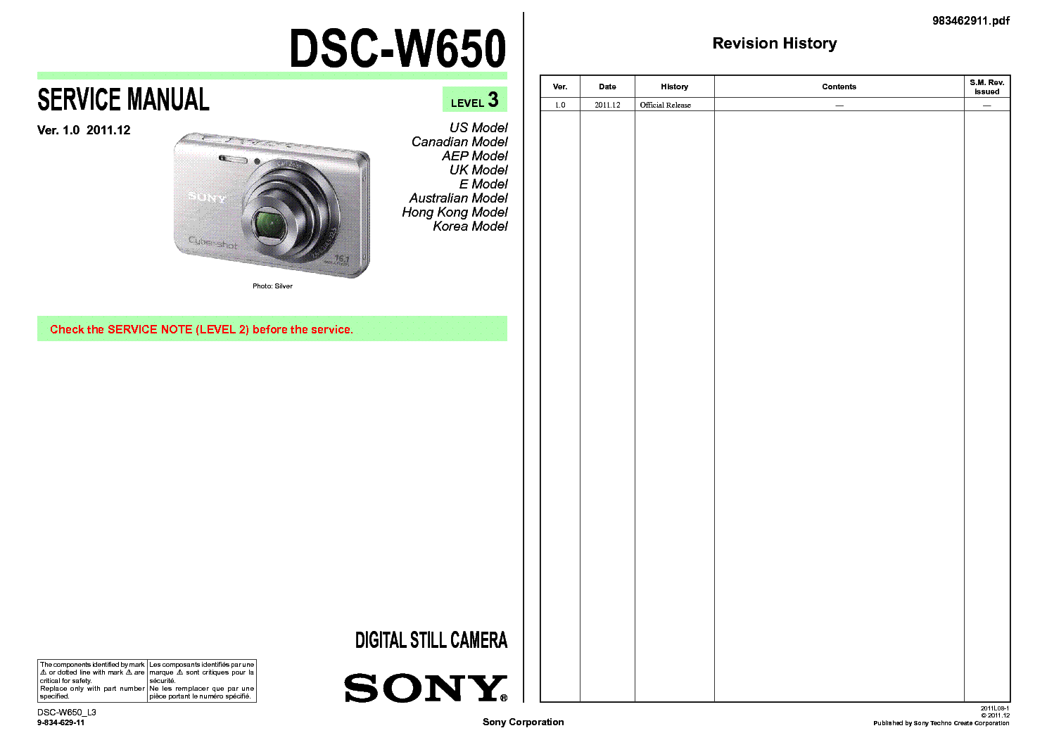 Sony W650 Manual Wiring Stock Camera To A Rosen Navigation N11 Toyota Fj Cruiser Array Dsc Level 3 Sm Service Download Schematics Eeprom Rh Elektrotanya Com
