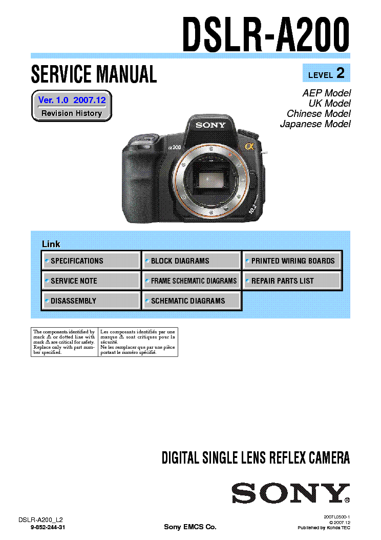 sony dslr a200 level2 ver1 0 sm service manual download schematics rh elektrotanya com Sony A200 Flash Sony A200 SLR