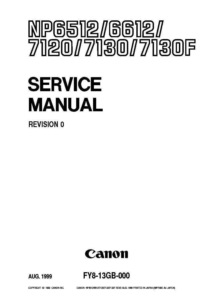 Canon np6512 / np6612 / np7120 / np7130 / np7130f service manual +.