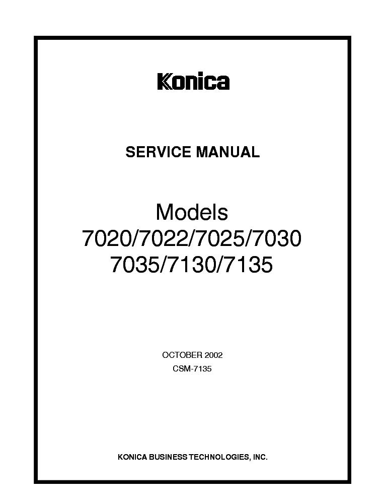 konica minolta 7020 7022 7025 7030 7035 7130 7135 sm service manual rh elektrotanya com  konica 7022 service manual free