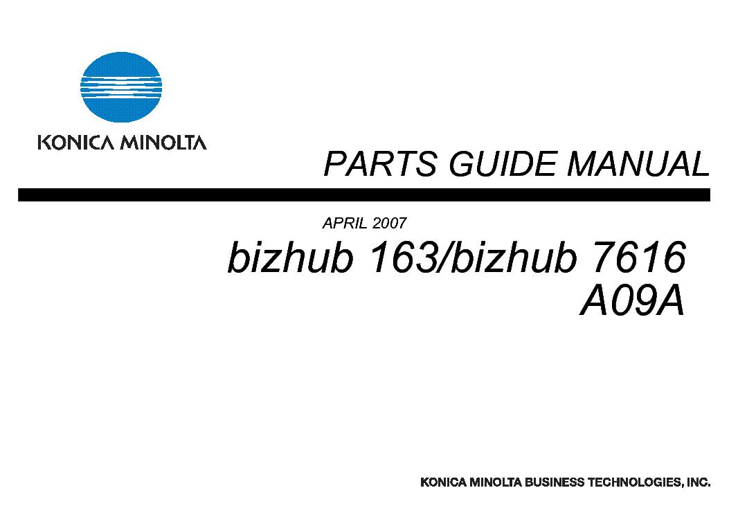 konica minolta bizhub 163 7616 a09a parts guide service manual rh elektrotanya com bizhub 163 parts guide Bizhub C253