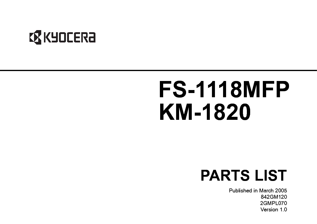 KYOCERA FS-1118MFP KM-1820 PARTS LIST service manual