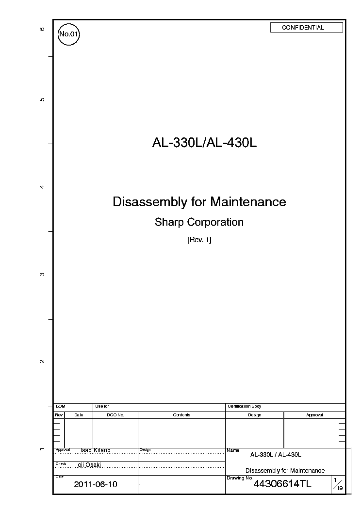 SHARP AL-330L AL-430L SM 2 service manual (1st page)