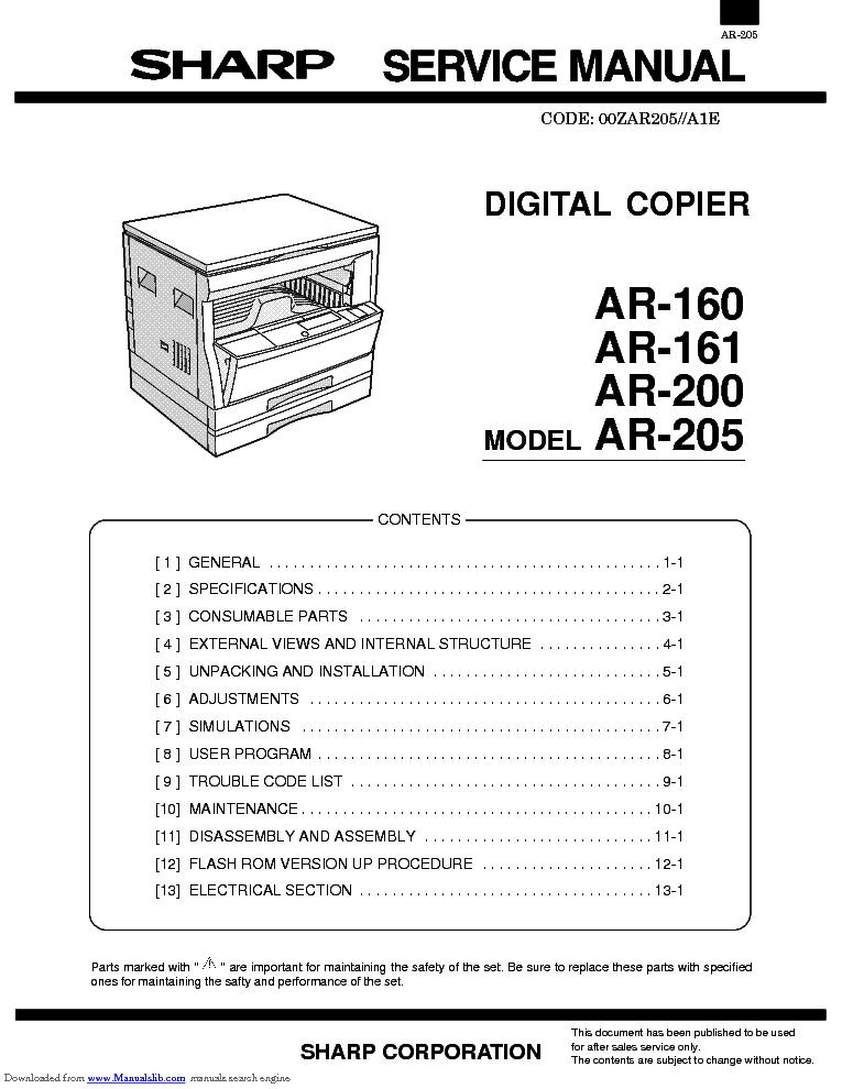 sharp ar 160 ar 161 ar 200 ar 205 sm service manual download rh elektrotanya com Sharps AR- 15 Sharp AR M237 Toner