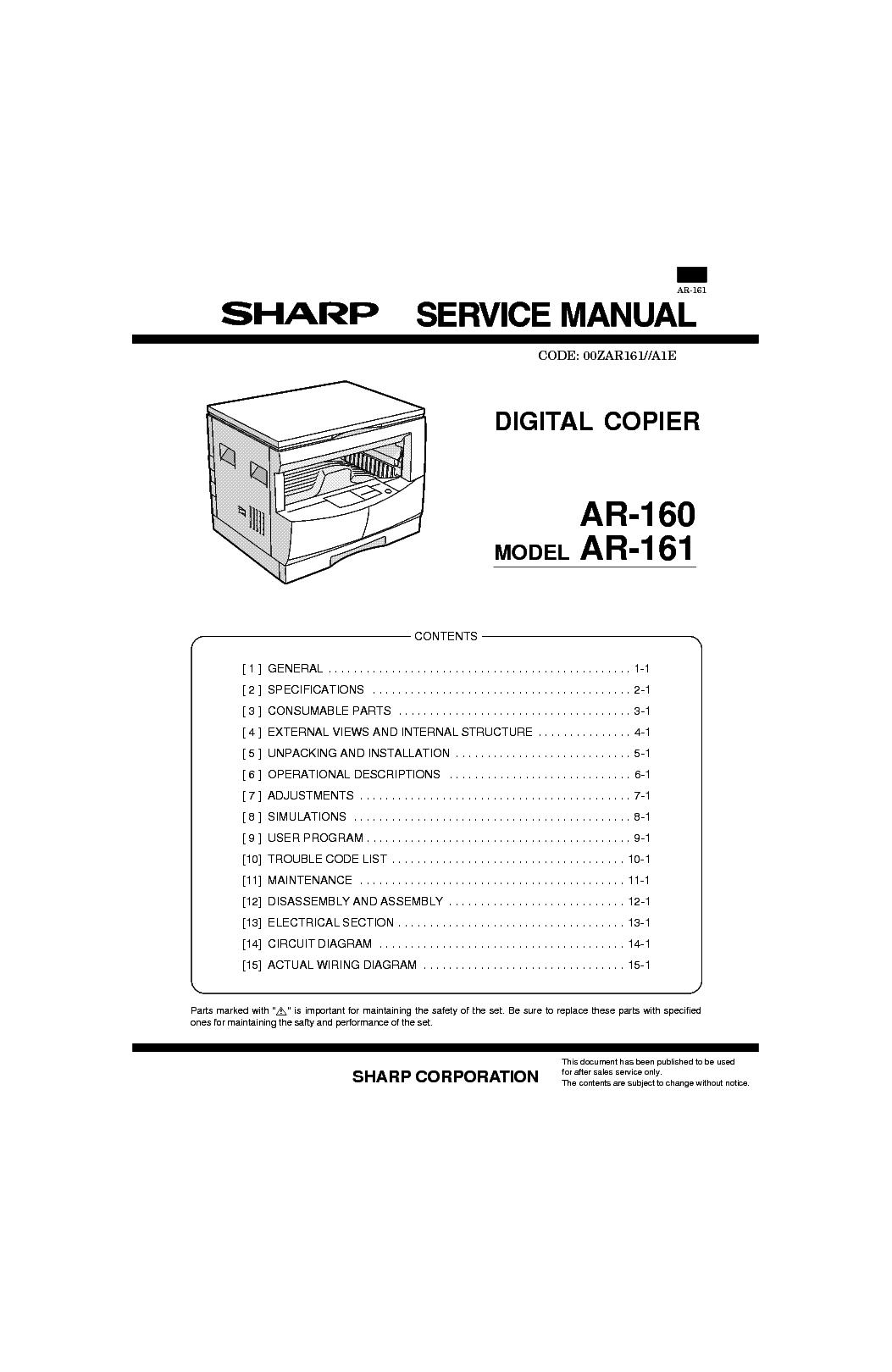 sharp ar 160 ar 161 sm service manual download schematics eeprom rh elektrotanya com Sharps AR- 15 Sharp AR M237 Toner