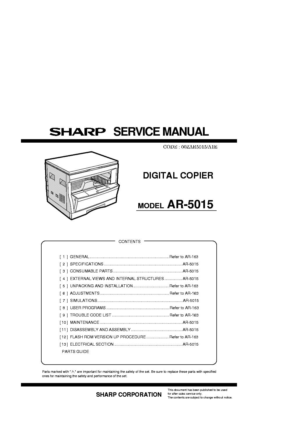 sharp ar 5015 service manual download schematics eeprom repair rh elektrotanya com Sharp AR- M162 Sharp AR Code