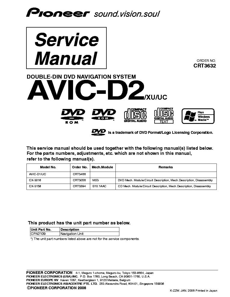 pioneer avic d2 service manual download schematics eeprom repair rh elektrotanya com