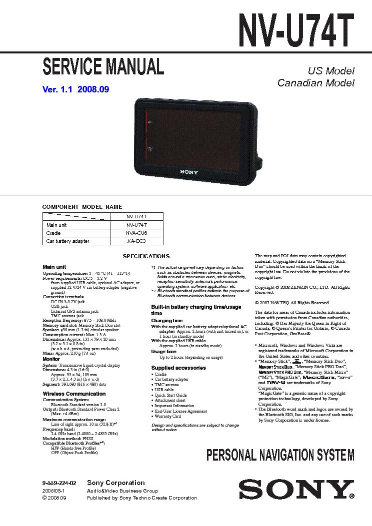 sony gps navigation nv u74t service manual download schematics rh elektrotanya com Kubota Tractor Repair Manual Downloadable Online Chevrolet Repair Manuals