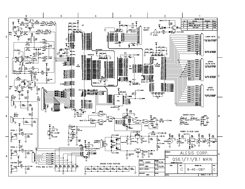 ALESIS QS-6 SCH Service Manual download, schematics, eeprom, repair ...