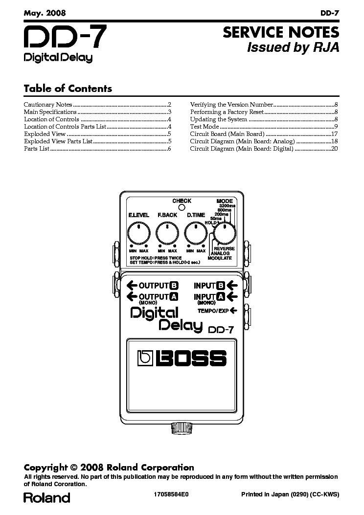 BOSS DD-7 Service Manual download, schematics, eeprom, repair info
