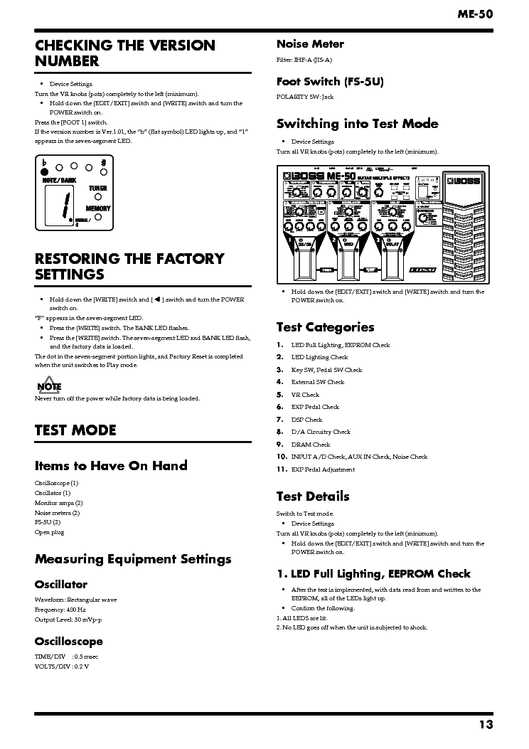 Related Manuals for Boss ME-25