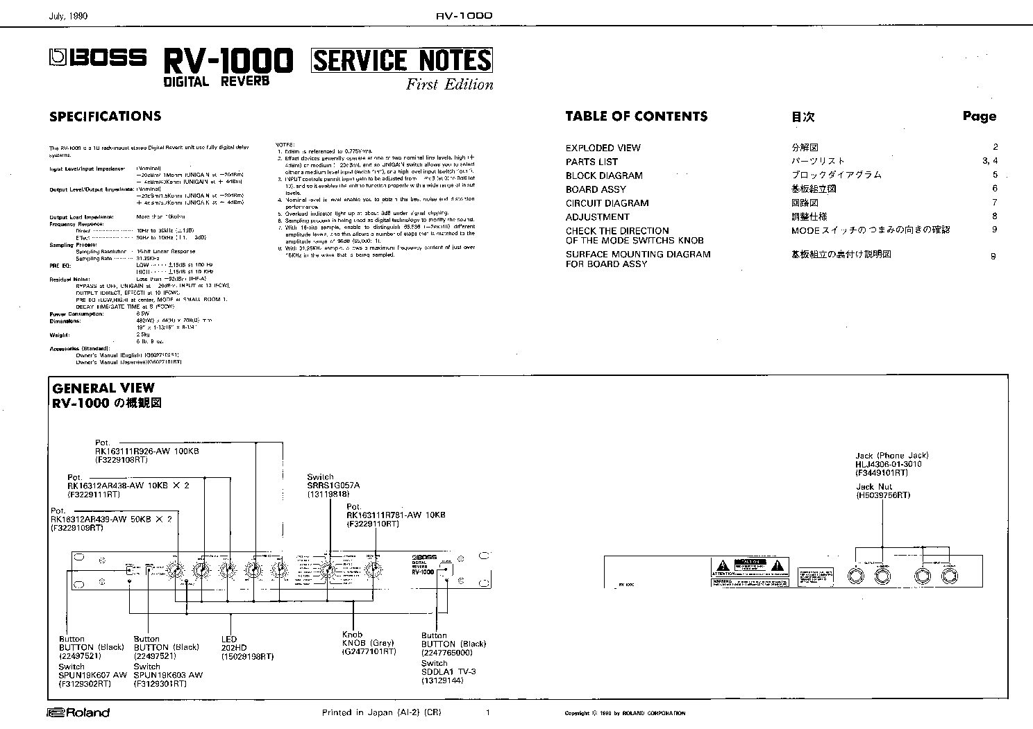 Boss rv 1000 Manual