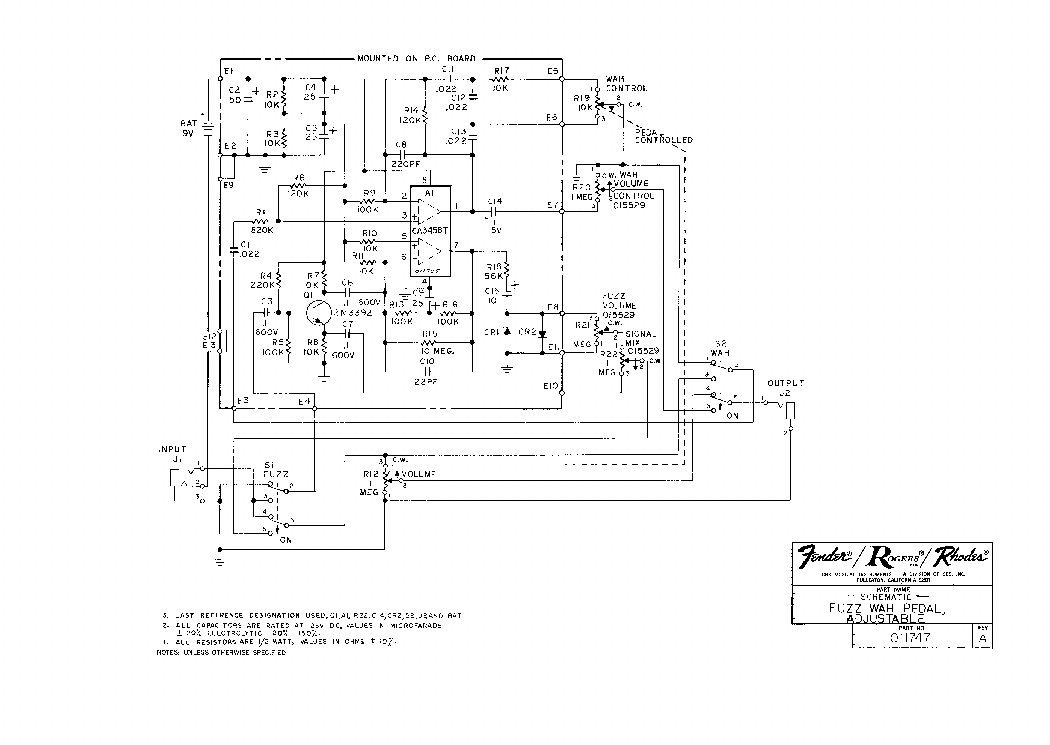 Wah Pedal Wiring Diagram on