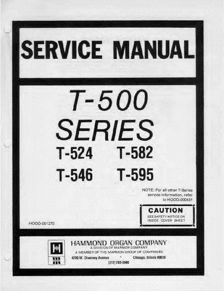 HAMMOND T-500 SERIES T524 T582 T546 T595 Service Manual free ...