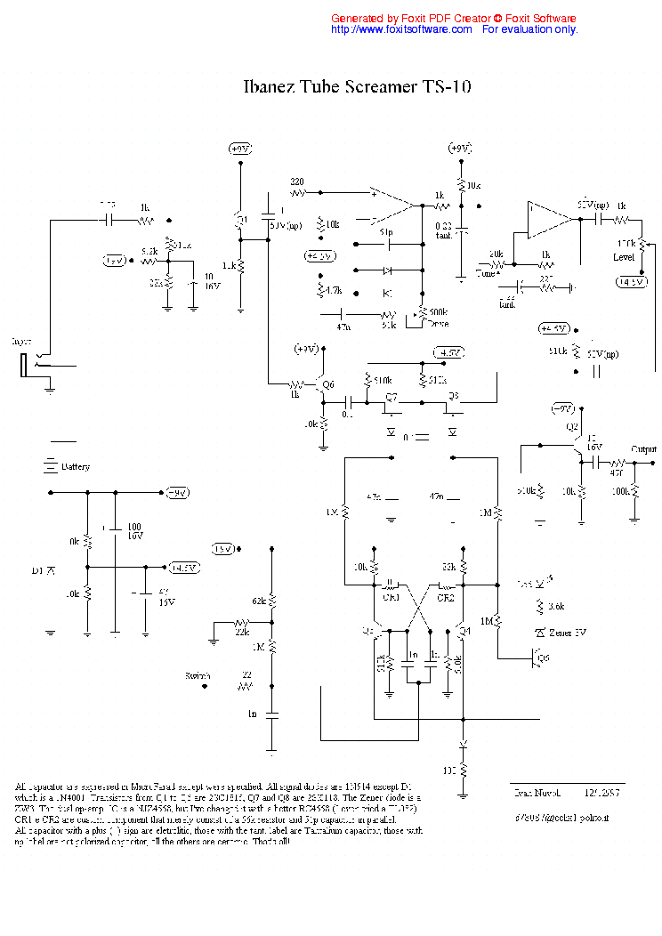 IBANEZ TS-10 TUBE-SCREAMER SCH Service Manual download, schematics