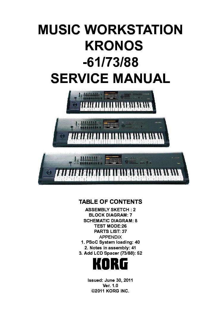 Korg kronos 61 73 88 ver. 2. 0 service manual download, schematics.