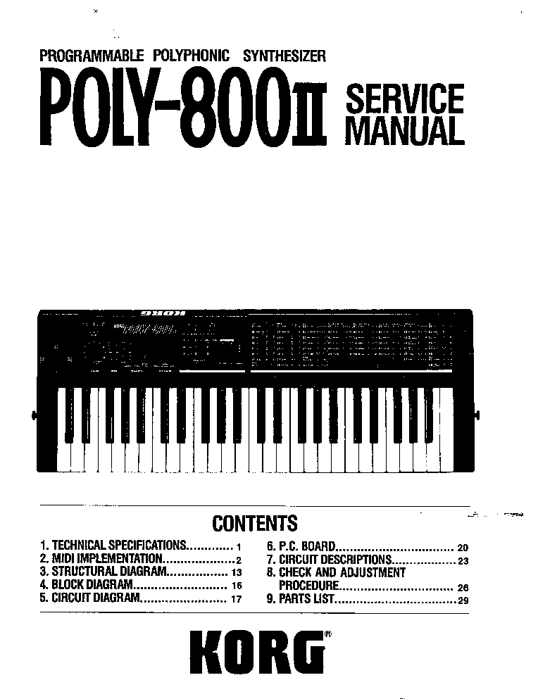 KORG M1 SM Service Manual download, schematics, eeprom