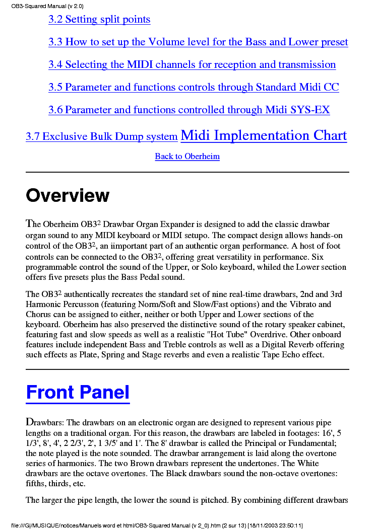 Oberheim Ob3 User Manual Service Manual Download