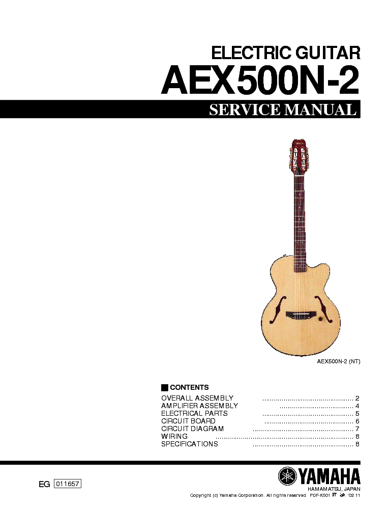 YAMAHA AEX500N-2 ELECTRIC-GUITAR SM service manual (1st page)