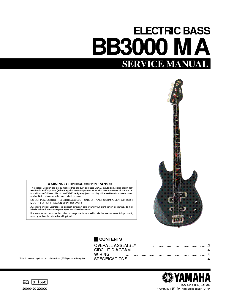 Yamaha bb3000 ma electric bass guitar sm service manual download yamaha bb3000 ma electric bass guitar sm service manual 1st page cheapraybanclubmaster Images