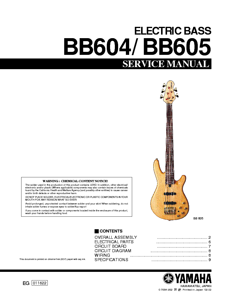 YAMAHA BB604 BB605 ELECTRIC-BASS-GUITAR SM service manual (1st page)