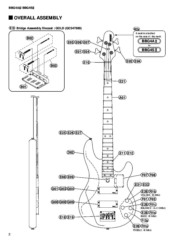 Yamaha Bbg4aii Bbg4sii Guitar Service Manual Download Schematics