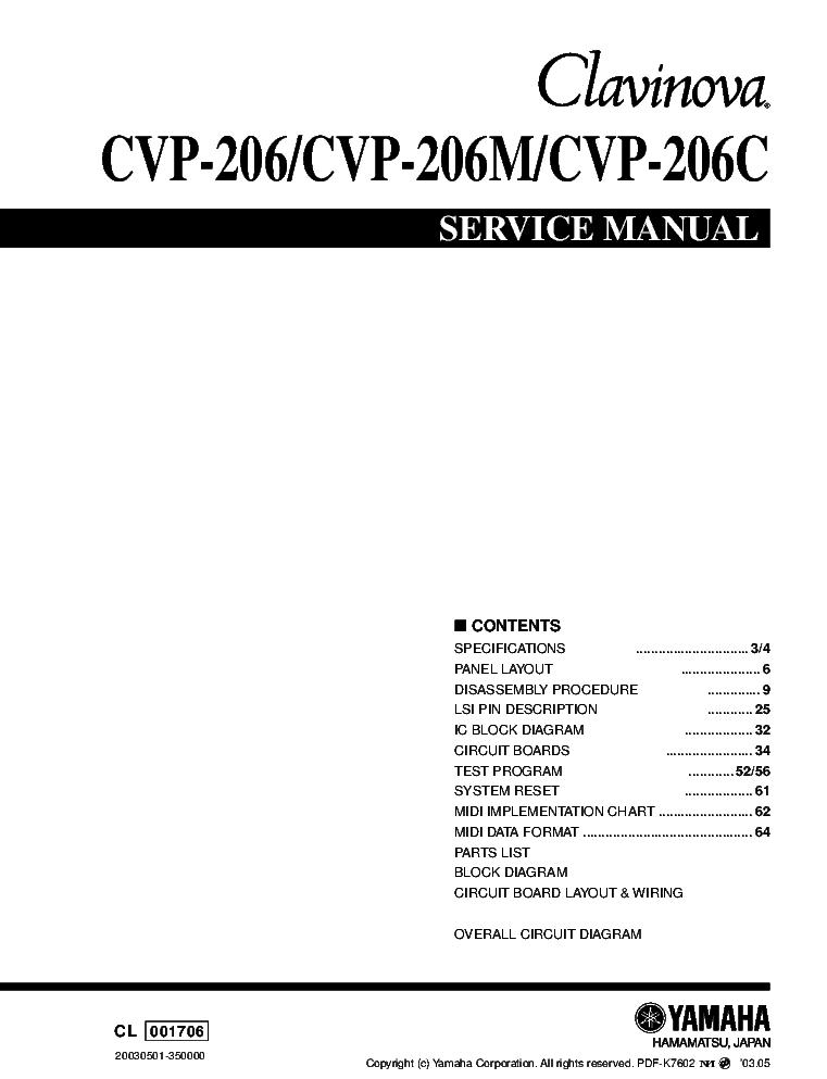 yamaha cvp 206 cvp 206m cvp 206c service manual download schematics rh elektrotanya com Central Venous Pressure CVP Line Placement