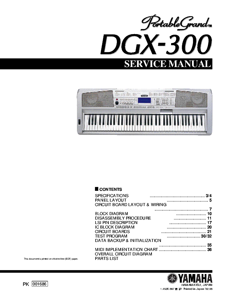 Yamaha psr 640 psr 740 service manual free download for Yamaha dgx 230 manual