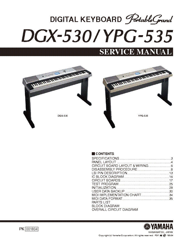 yamaha dgx 530 ypg 535 service manual download schematics