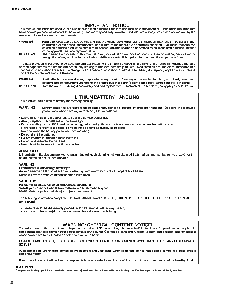YAMAHA DTXPLORER service manual (2nd page)