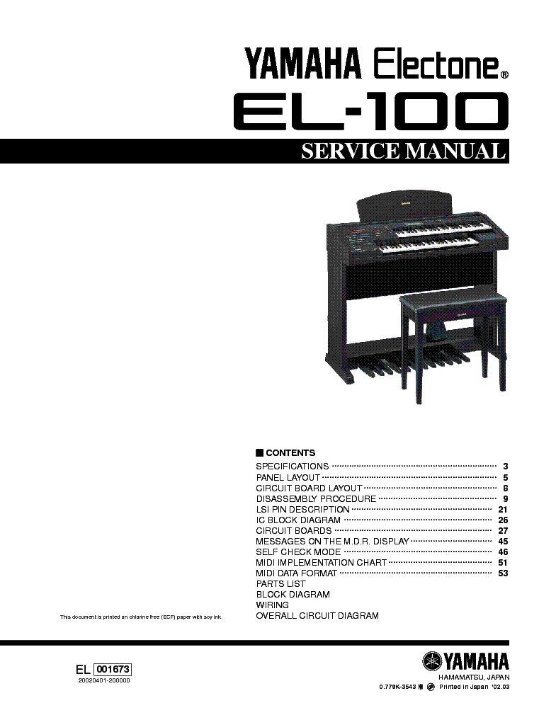 Image result for manual yamaha el-100