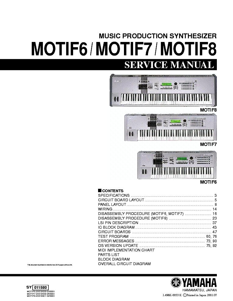 Yamaha Motif6 Motif7 Motif8 Service Manual Download Schematics Eeprom Repair Info For Electronics Experts