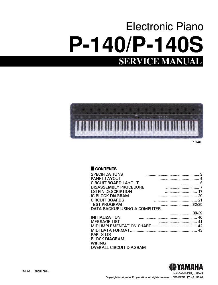 Yamaha electronic piano manual p-140 p140s   ebay.