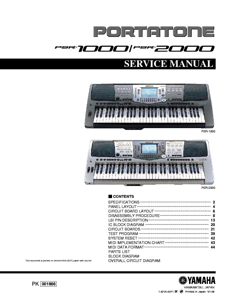 Yamaha Psr   Repair Manual