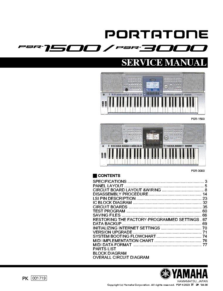 yamaha psr 1500 psr 3000 sm service manual download schematics rh elektrotanya com Yamaha PSR 9000 Simm PSR-8000 Keyboard