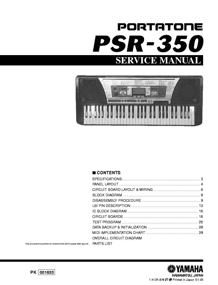 Yamaha Psr-350 Инструкция