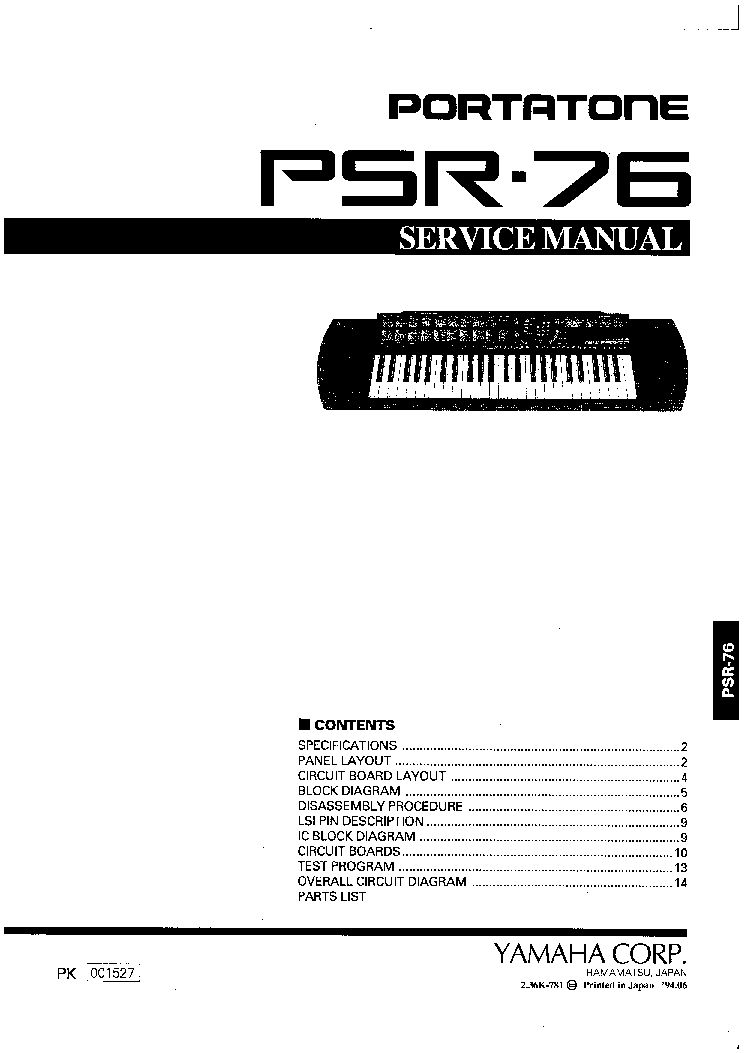 yamaha psr 76 service manual download schematics eeprom repair rh elektrotanya com yamaha psr- gx 76 user manual Yamaha PSR 78 Keyboard