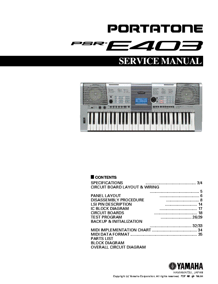Yamaha psr e403 user manual.