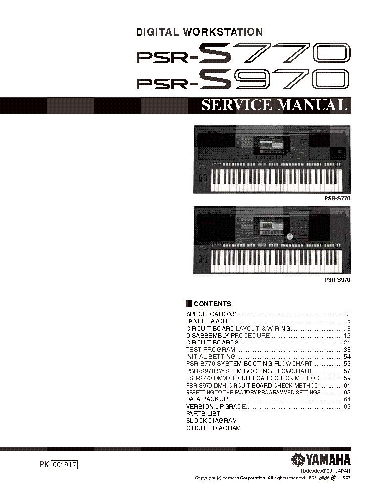 YAMAHA PSR-S770 PSR-S970 SM Service Manual download