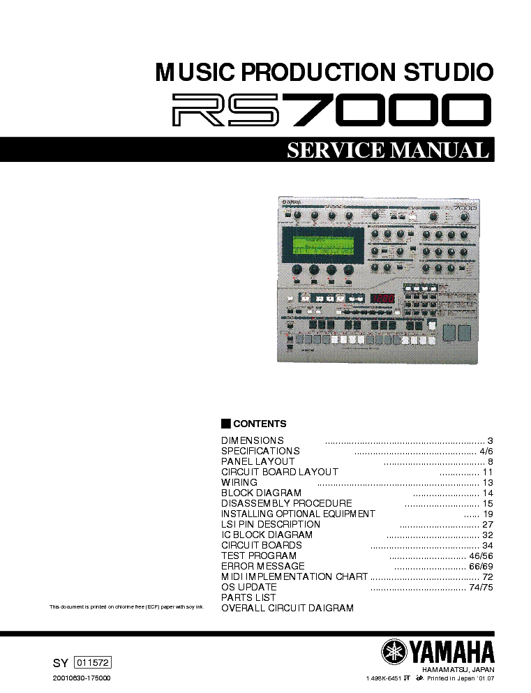 YAMAHA RS-7000 SM service manual (1st page)