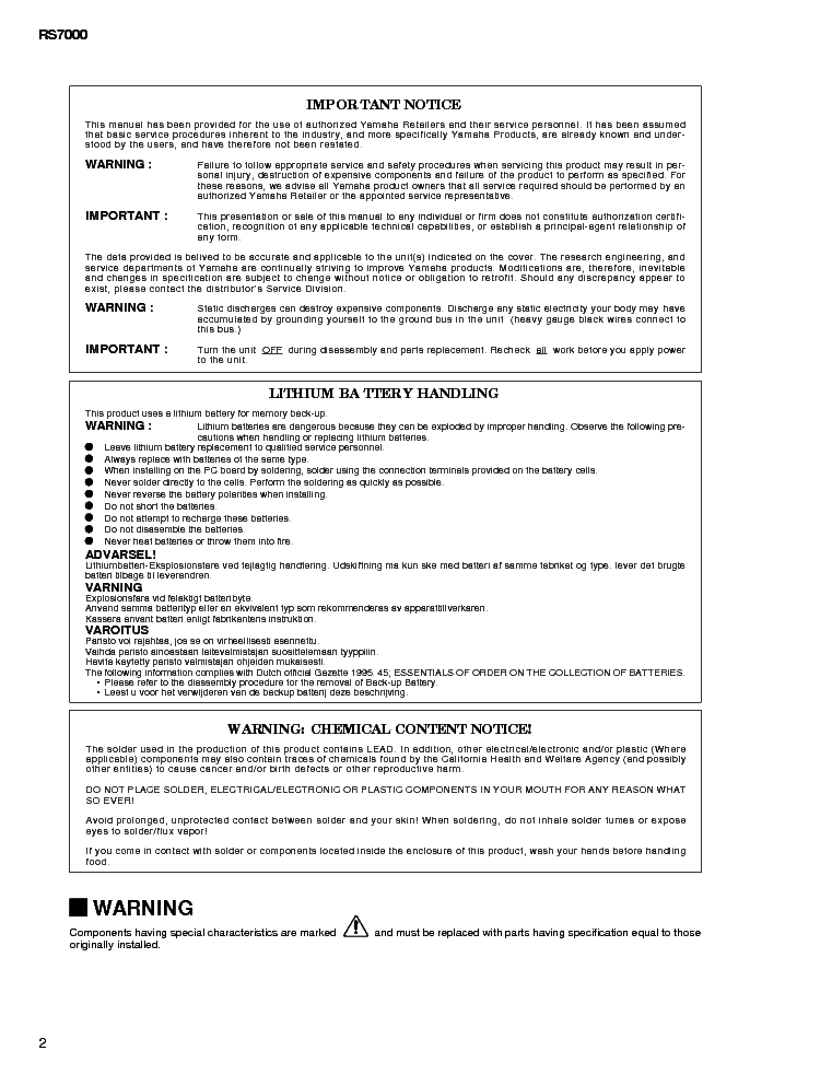 YAMAHA RS-7000 SM service manual (2nd page)