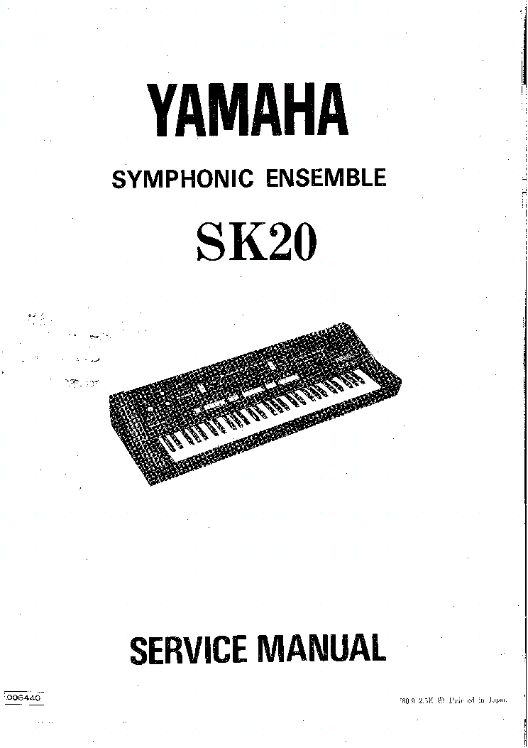 YAMAHA SK20 SYNTHESIZER SM service manual (1st page)