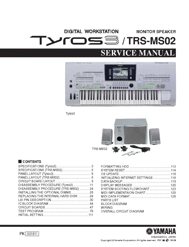 YAMAHA TYROS3 TRS-MS02 service manual (1st page)
