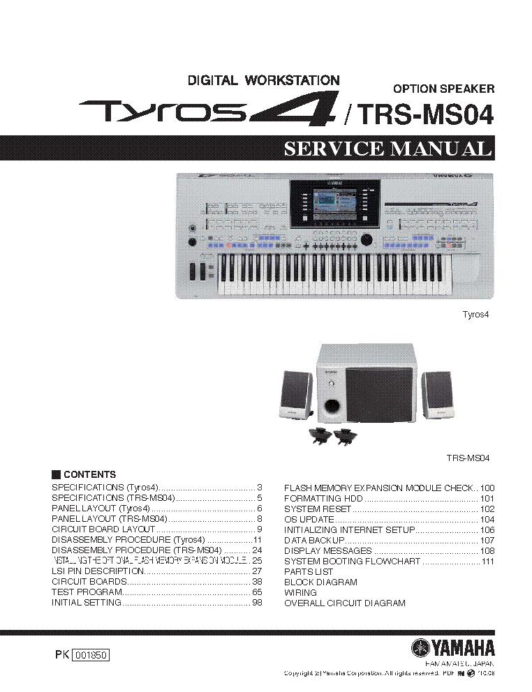 YAMAHA TYROS4 TRS-MS04 SM Service Manual download, schematics
